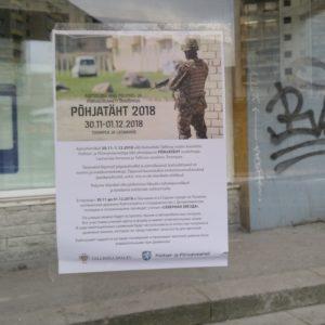 Информационный плакат Кайтселийта на ласнамяэской автобусной остановке. Автор фото: Виталий Фактулин.